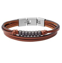FOSSIL Multi-Strand Hematite and Brown Leather Bracelet JF03128; 100% Authentic - $33.44