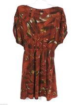American Rag Cie Stretch Tunic Mini Dress Rust Abstract Print L Poly Spandex image 4