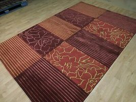 Abstract Shades of Red Gold stripes Handmade 6 x 8 Red Modern Wool & Silk Rug image 5