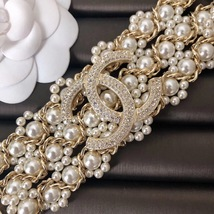 NEW Authentic CHANEL 2019 Multi Strand Crystal CC Gold Chain Pearl Bracelet  image 7