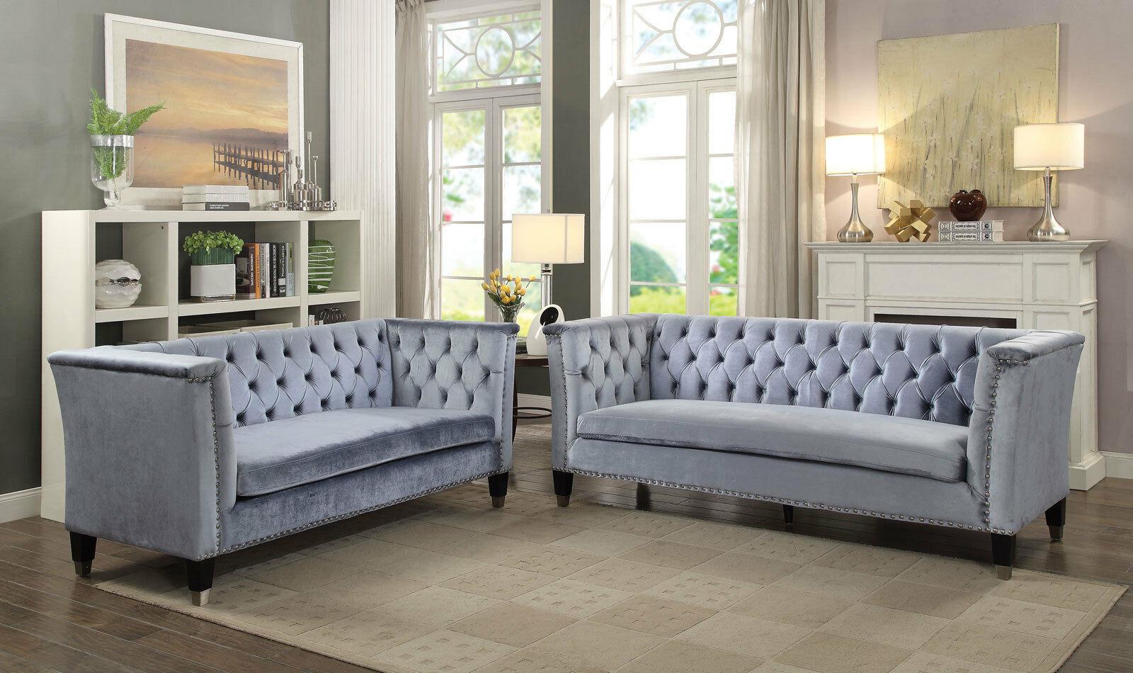 MEADOW Mid Century Modern Living Room Set Blue Gray Velvet ...