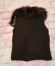 Ann Taylor Loft Womens Sweater Vest Alpaca/Mohair w/ Faux Fur Collar Brown Sz M image 3