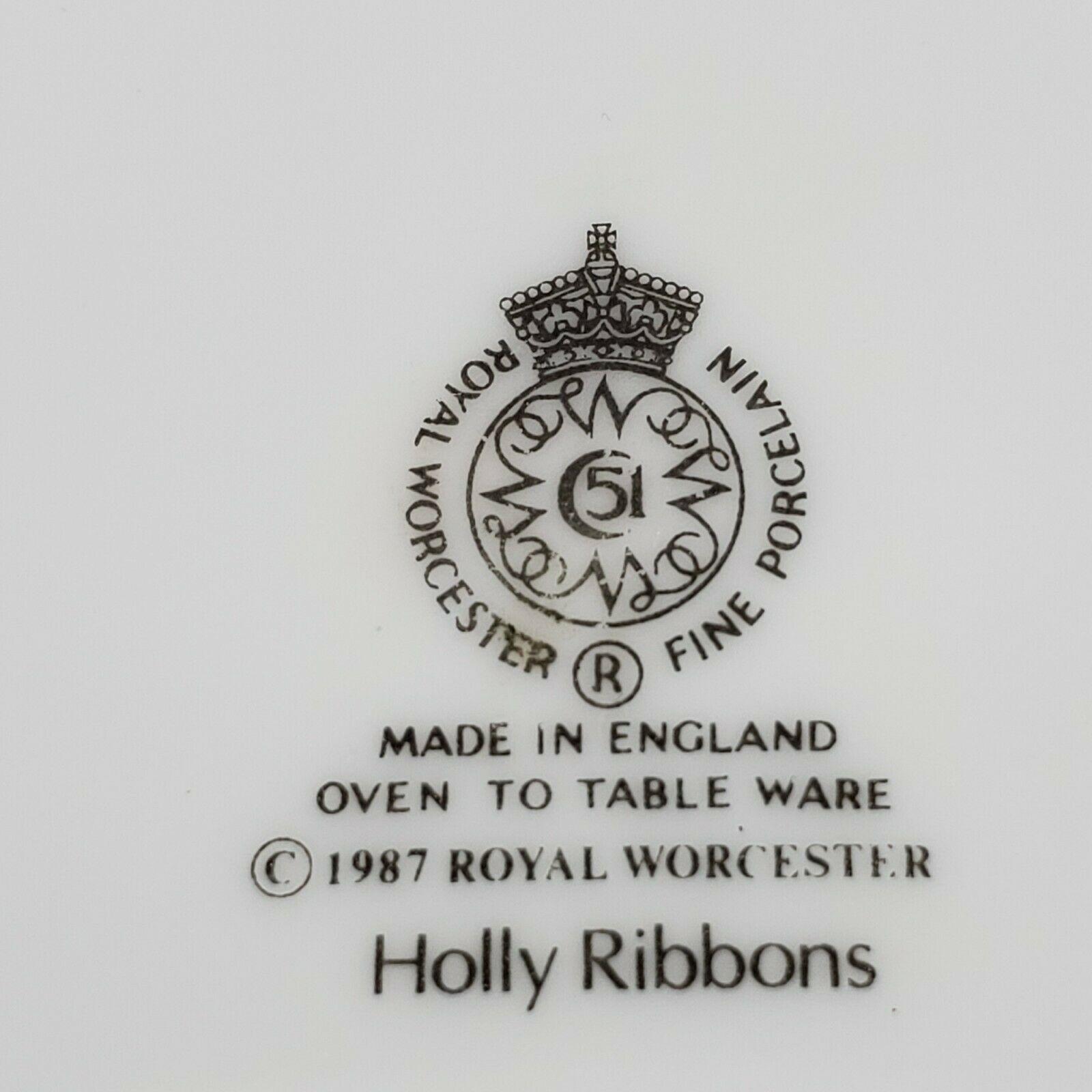 Vintage 1987 Royal Worcester Holly Ribbons Salad Bowl Made in England Porcelain