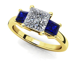 14K Yellow Gold Fn 1.23Ct Princess Cut Sapphire & Sim Three Stone Engagm... - £79.63 GBP
