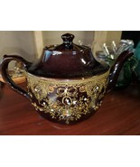 Vintage Made in Japan Redware Embossed Teapot.Crafted with detailed desi... - $34.00