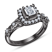 Princess Cut Sim Diamond Women's Wedding Ring 925 Silver 14k Black Gold ... - $73.55