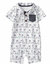 NWT Gymboree Baby Bunny Rabbit Print Easter Romper 1PC Baby Boy 0-3 months - $29.69