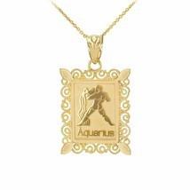 Fine 14k Solid Gold Aquarius Zodiac Sign Filigree Rectangular Pendant Ne... - $138.50+