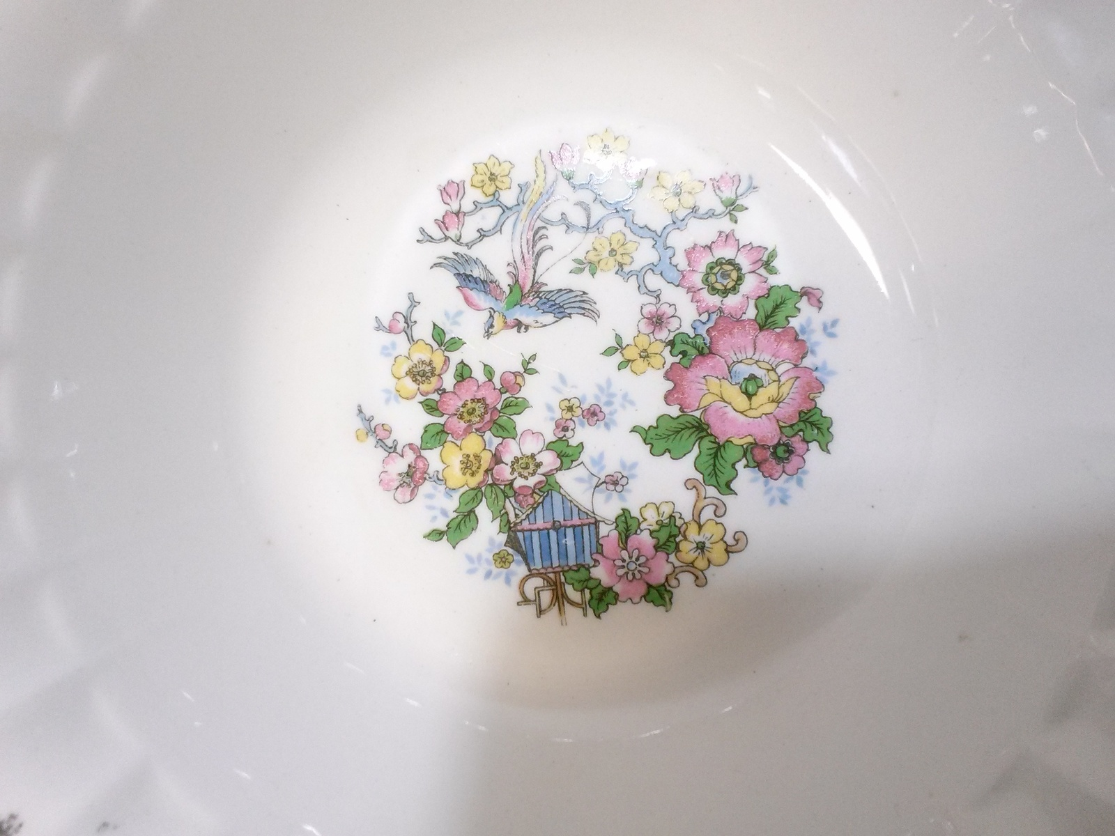 Cronin China Lugged Cereal Bowl Gold Flutes, Flowers & Birds COI3 Minerva Ohio