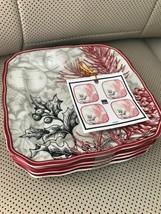 222 fifth Joyful Christmas Porcelain Fine China Dessert Plate Set 4 ~New~ - $39.99