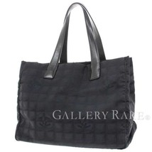 CHANEL New Travel Line Tote MM Canvas Black Tote Bag A15991  Authentic 4... - $410.00