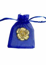 "1.5/8"" Diameter Acrylic Rhinestones Dull Gold Classic Elegant Flower Brooch Pin  - $11.97"