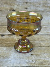 Indiana Glass Amber Carnival King's Crown Thumbprint Pedestal Candy Dish - $19.99