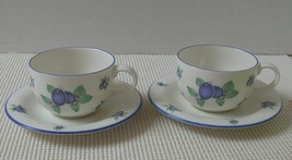 Royal Doulton EVERYDAY Set of 2 BLUEBERRY CUPS & SAUCERS (s) Made in Eng... - $20.60