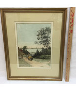 Farm Life Print Framed Picture Colored Pencil Ink Girl Hauling Hay Lake ... - $34.64
