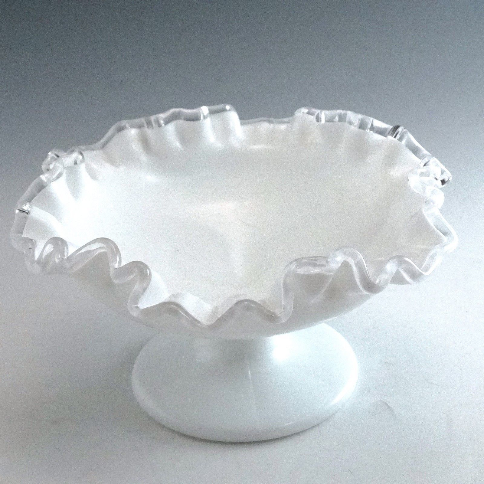 Vintage Fenton Glass Silver Crest Footed 7 inch Compote Bowl White Milk Glass  image 2