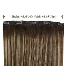 Ugeat 18inch One Piece Hair Extensions Clip in Real Human Hair #4/27/4 Balayage  image 3