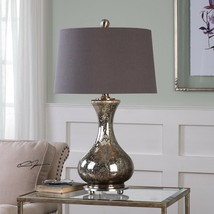 "COASTAL DECOR 29"" DISTRESSED MERCURY GLASS TABLE LAMP BRUSHED NICKEL METAL  - $217.80"