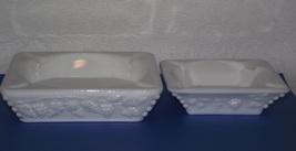 Vintage 2pc Westmoreland white milk glass grape square ashtray cigar rest set ~W - $25.00