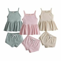 Baby Girls Summer Clothes Spaghetti Strap Ruffled Dress Elastic Waist Sh... - $14.23