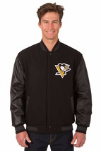 Pittsburgh Penguins Wool & Leather Reversible Jacket with Embroidered Logos Blck - $269.99