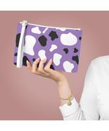 Cow Print Clutch Bag-Purple Black & White Vegan Leather Clutch Bag-Gift ... - $27.91