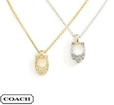 NEW Coach F54517 Pave Signature C Rose Gold Necklace $115