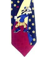 Disney Tie Goofy Playing Golf Tan Black Burgundy 100% Silk Hand-stitched... - $24.06