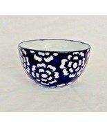 Blue and White Bowl Cereal Dessert Pasta Individually Handmade Floral Po... - $18.04