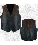 Mens Western Cowboy Style Black & Brown Leather Vest Lined Southwestern - $22.99 - $25.99