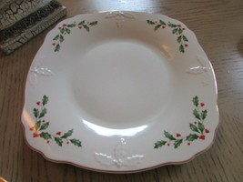 """LENOX AMERICAN BY DESIGN HOLIDAY CARVED SQUARE PLATTER 11.5"""" EMBOSSED NEW - $24.70"""