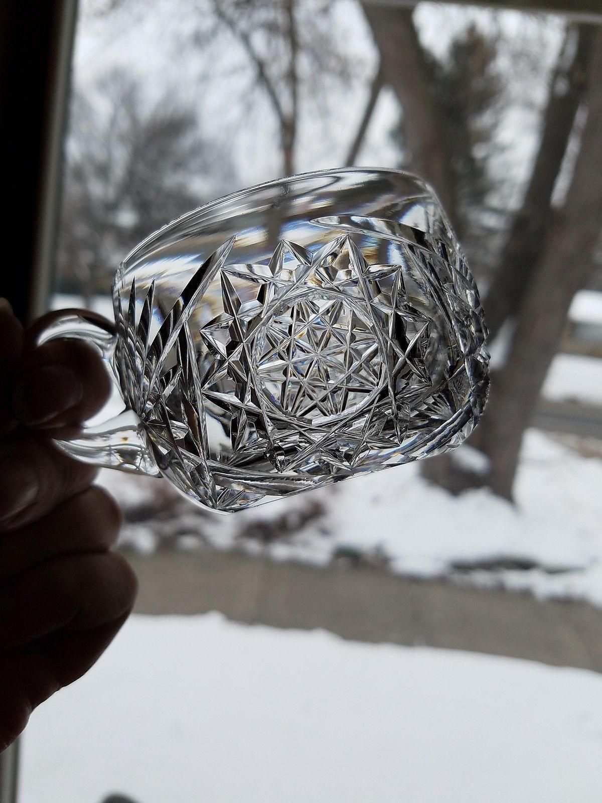 American Brilliant Period Cut Punch Cups Handled Hobstar Fans Fine Diamond - $27.95