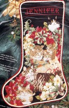 Janlynn Christmas Cats Kittens Poinsettia Cross Stitch Stocking Kit 125-239 - $84.95