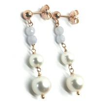 18K ROSE GOLD PENDANT EARRINGS, WITH FW PEARLS AND CHALCEDONY image 1