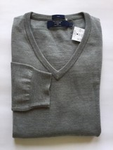 New J. Crew Men's V Neck Sweater Merino Wool Grey Large Long Sleeve  - $55.74