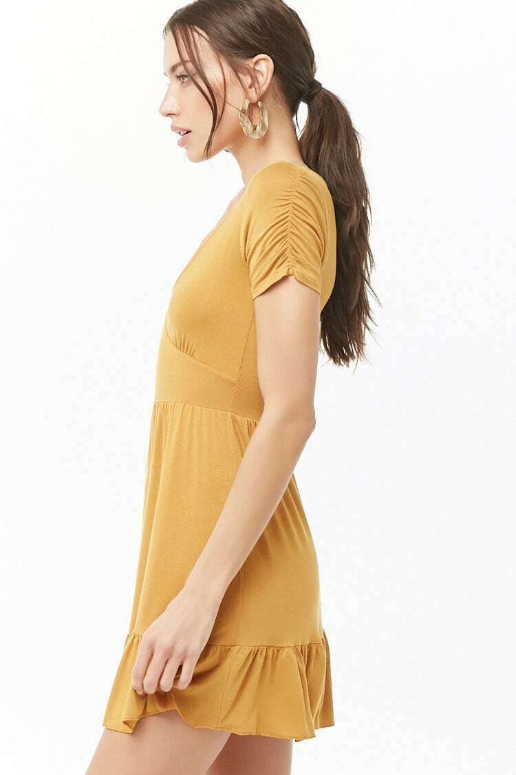 Forever 21 Ruched Short Sleeve Mini Knit Flowy Ruffle Hem Mini Dress M Medium