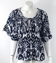 Notations Top Sz Small Navy Blue White Damask Kimono Sleeve Peasant Boho Blouse - $11.88