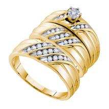14k Yellow Gold His & Her Round Diamond Matching Bridal Wedding Ring Set - $1,059.00