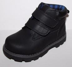 Healthtex NWT Boys Black Faux Leather Hiking Boots w/ Strap Closure - £21.24 GBP