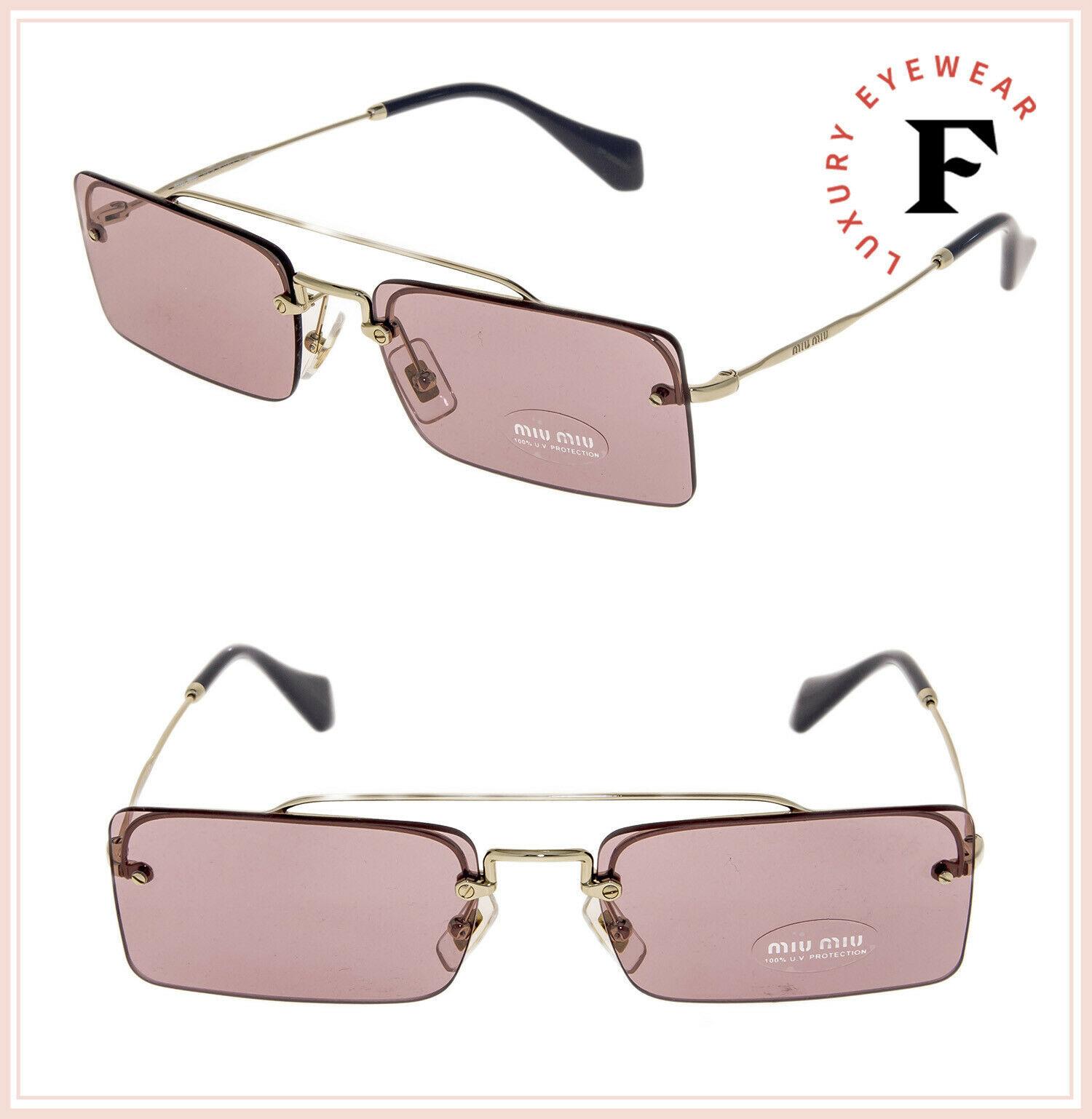 MIU MIU SOCIETE MU59TS Pale Gold Pink Square Rimless Special Sunglasses 59T