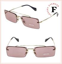 MIU MIU SOCIETE MU59TS Pale Gold Pink Square Rimless Special Sunglasses 59T - $212.85