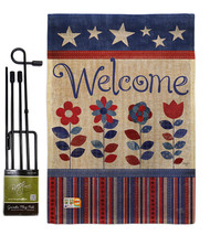 Welcome Patriotic Burlap - Impressions Decorative Metal Garden Pole Flag... - $33.97