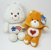 "CARE BEARS 16"" WHITE AMERICA BEAR & ORANGE TENDERHEART STUFFED ANIMAL PL... - $52.40"
