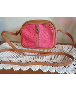 Valentina Leather Pink Ostrich Crossbody Bag Shoulder Purse Made In Italy  - $49.99