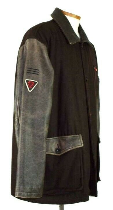 Marc Ecko Leather & Wool Heavy Bomber Jacket Brown Varsity Style Button Mens XL image 2