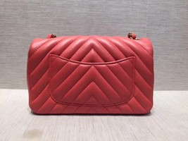 AUTH NEW Chanel RARE PINK CHEVRON Quilted LAMBSKIN Large Mini 20CM Flap Bag SHW image 2