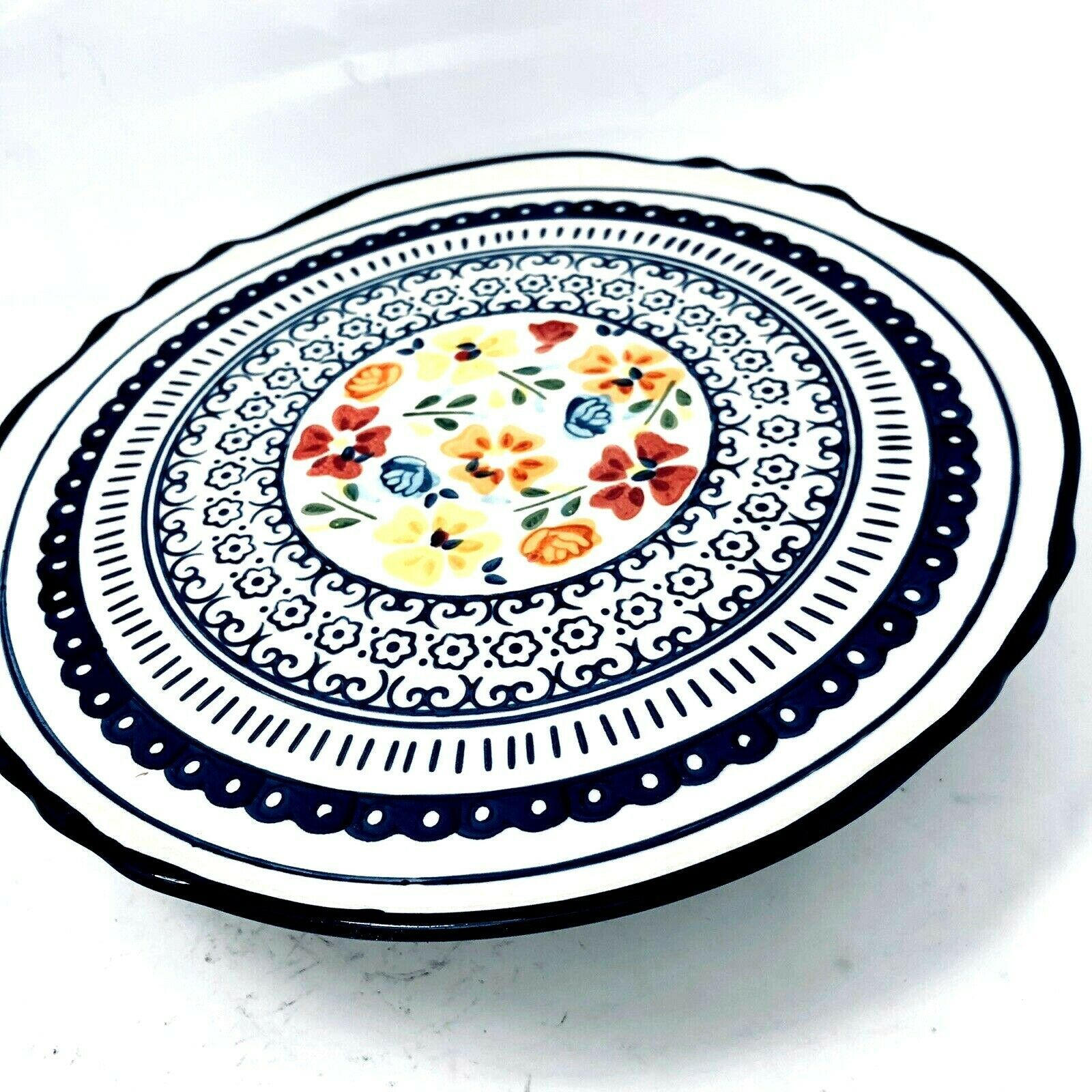 Primary image for Gibson Elite Luxembourg 1 Piece Stoneware Cake Plate Floral  Handpainted