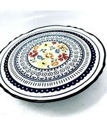 Gibson Elite Luxembourg 1 Piece Stoneware Cake Plate Floral  Handpainted - $29.35