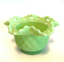 Fenton Basket Weave Bowl Green Custard Satin Glass 3.25 inches Tall Not ... - $22.77