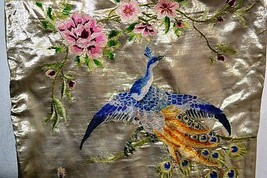 Peacock and Roses vintage hand embroidered brocade decorative  cushion c... - $49.40
